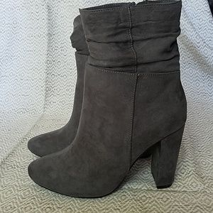 NWOB Grey Justfab Faux Suede Bootie. Size 8.5.